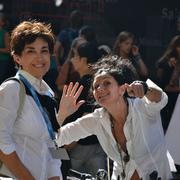 Antonella e Paola ... aspettando il Gruppo per iniziare la visita del Corridoio Vasariano!!! ...noi organizziamo anche queste cosine ;-)